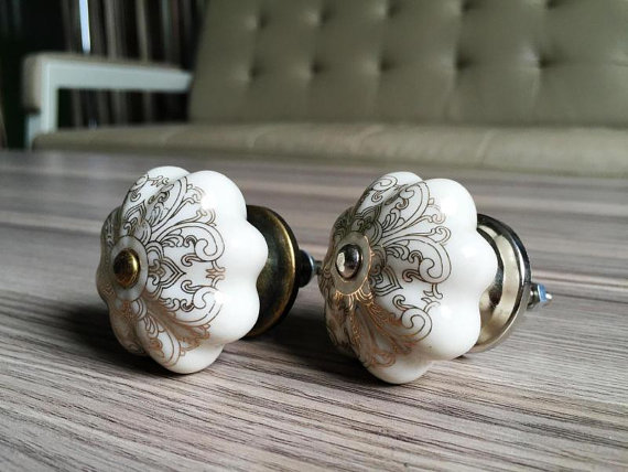 Ceramic Flower Dresser Knobs Silver/Antique Bronze Cabinet Porcelain Knobs Chic Drawer Knobs Furniture Hardware Cupboard Knobs