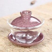 Moylor Kung Fu Tea Set Crystal Glass Bowl Gaiwan Celadon CeramicSancai Cup C