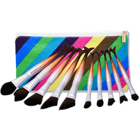 New 1Set 10Pcs Pro Mermaid Cosmetic Makeup Brush Powder Foundation Brush Tool Set Bag