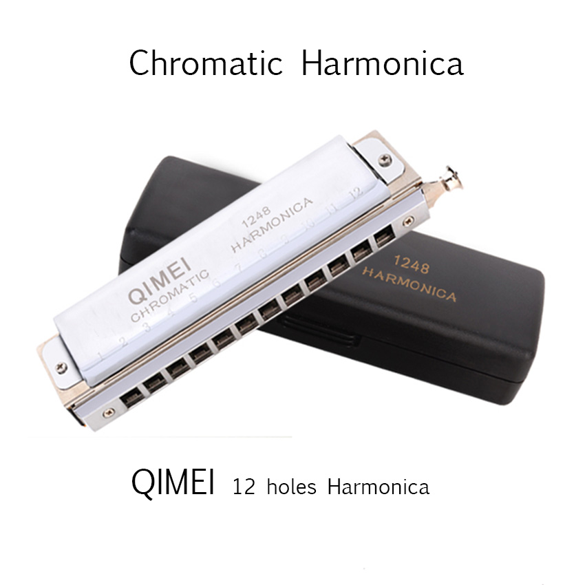 Chromatic Harmonica QIMEI 12 Holes/48 Tones Mouth Organ Professional Wind Musical Instrument beginner Student Square Comb C1-D4 easttop brass chromatic harmonica 16 hole brass abs comb musical instruments mouth organ chromatic slide harmonica good sound
