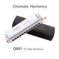 Chromatic Harmonica QIMEI 12 Holes/48 Tones Mouth Organ Professional Wind Musical Instrument beginner Student Square Comb C1 D4