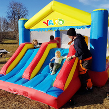 цена на Kids Inflatable Games Double Slides Obstacle Bouncy Castle 5x4x2.7m Inflatable Castle Bounce House For Kids Funny Play Party