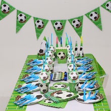 Football Theme Birthday Party Tableware Set Napkin Cups Tablecloth Flags Plates Kids Favor Boys Decoration