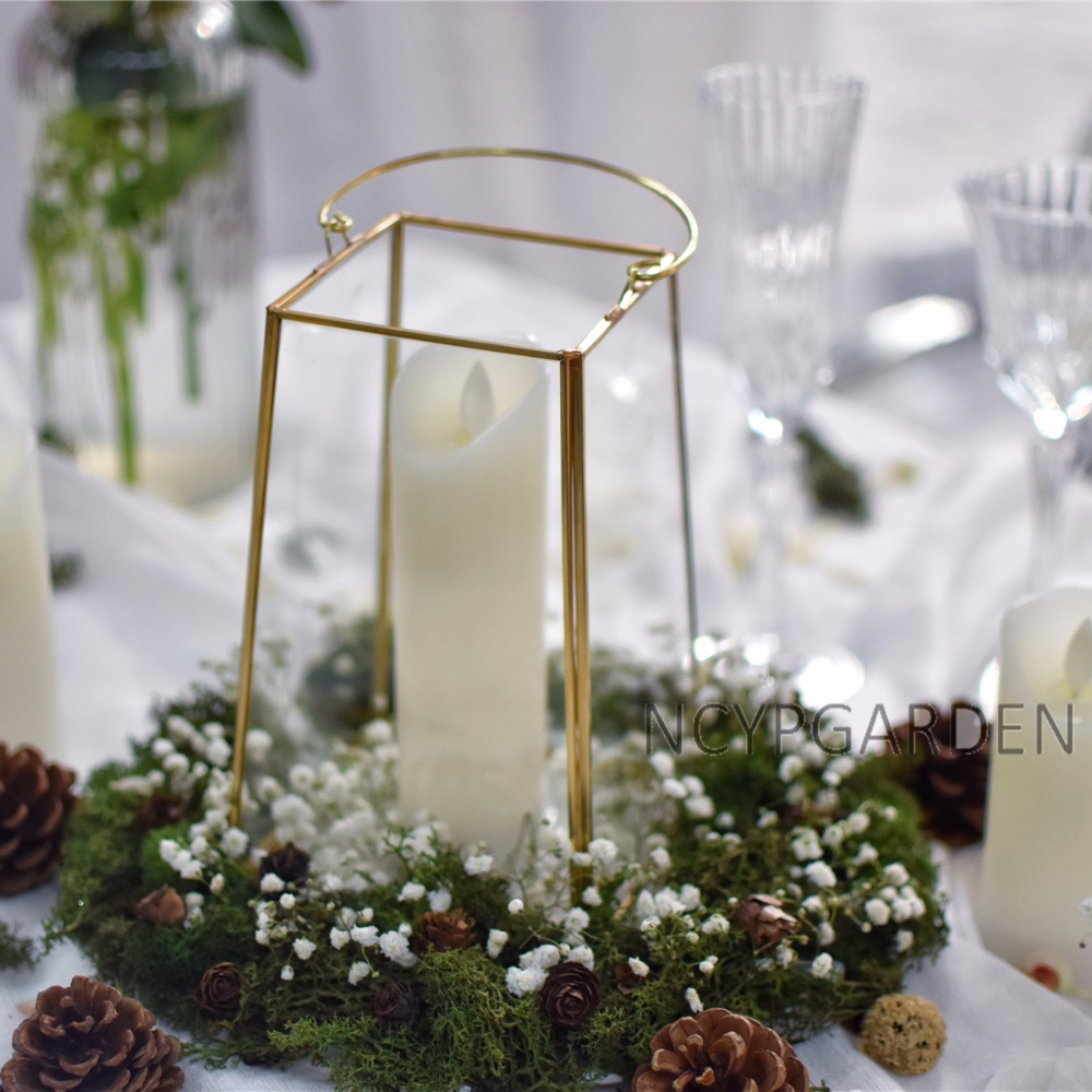 Handmade Brass Copper Gold Echelon Geometric Glass Terrarium Holder