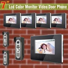 7 Inch monitor video door phone intercom system Video doorphone doorbell Kit visual intercom system 3-Camera 5-Monitor