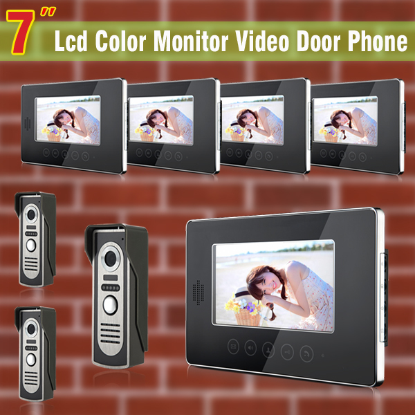 7 Inch monitor video door phone intercom system Video doorphone doorbell Kit visual intercom system 3-Camera 5-Monitor buy video monitor