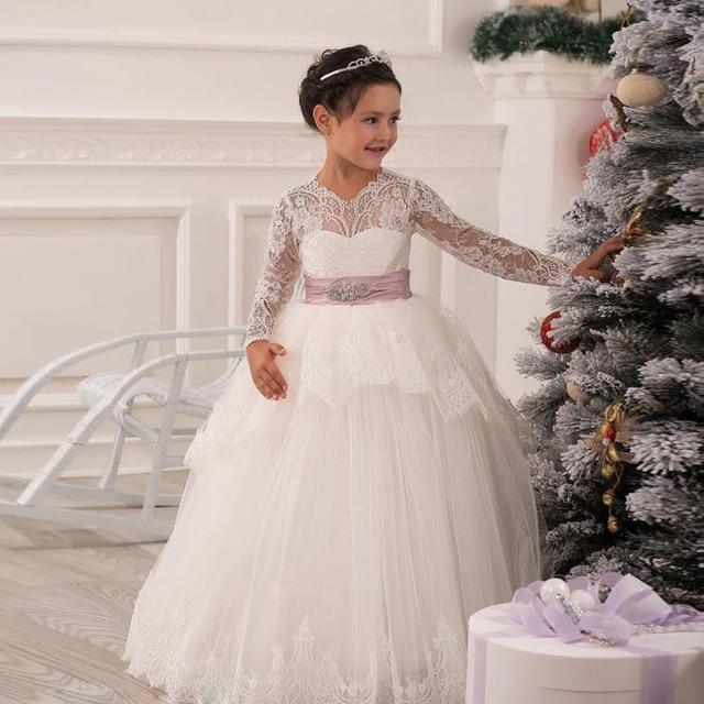 50a0717f1e0 White Lace Ball gown Flower girl Dresses Full Long sleeve Beauty Little  girls Pageant dress Lovely Kids dress for Children