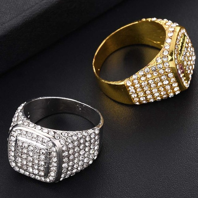 Hip Hop Bling Iced Out Square Crystal Ring Gold Color Stainless