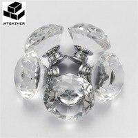 MTGATHER 8 PCS 40 MM Crystal Clear Vidro do Corte do Diamante Maçanetas de Gaveta Do Armário Da Cozinha Maçanetas + Screw Fácil instalar