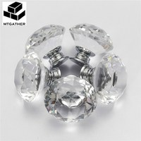 MTGATHER 8PCS 40MM Clear Crystal Glass Diamond Cut Door Knobs Kitchen Cabinet Drawer Knobs Screw Easy