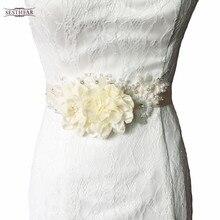 S172 Frete grátis Pure handmade Tecido Flor Acessórios do casamento nupcial caixilhos sash Mulheres Cintos cinto de Casamento Faixa De Noiva