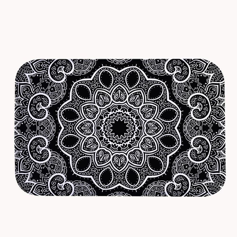 Black And White Floor Rug: Black And White Mandala Coral Fleece Bath Mat Area Rug