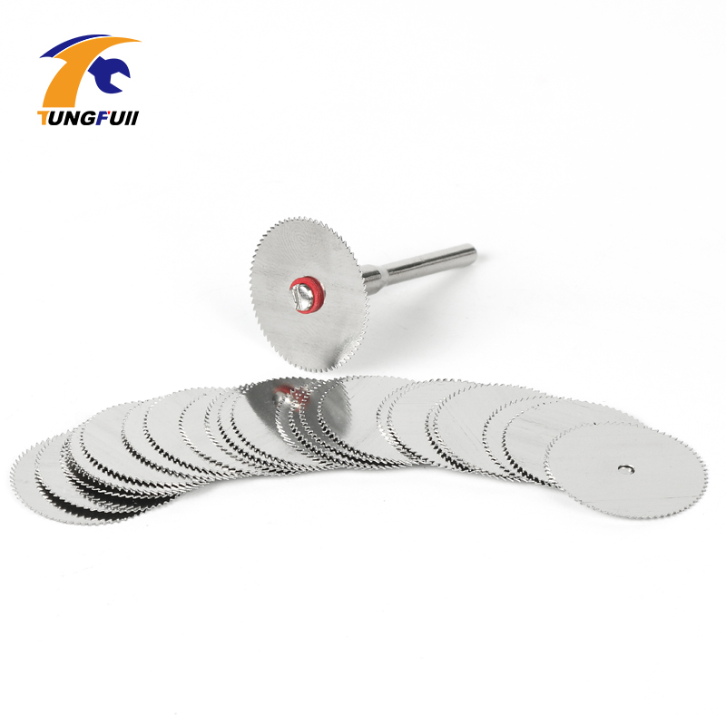 TUNGFULL Dremel Accessories 15pc 22mm Circular Saw Blades With 1pcs 3mm Shank Wood Cutter Dremel Accessory For Rotary Tools