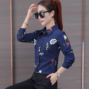 Image 2 - Naviu nouvelle mode fleur impression Blouse femmes 2019 printemps à manches longues bureau blouse grande taille hauts vêtements formels