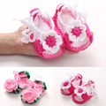 Crochet Baby Shoes Handmade Crocheted Bebe Slippers Infant Toddler Girls crib shoes with Flower for Newborn Photo Props