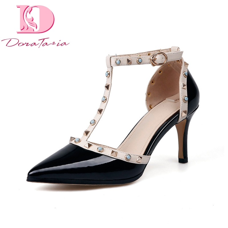 DoraTasia New women's Genuine Leather Thin Heels T-Strap Rivet Pointed Toe Shoes Woman Casual Party Pumps Size 34-39 fashion genuine leather shoes woman pumps 2016 new sexy wedges high heels round toe lace up women casual party shoes size 34 39