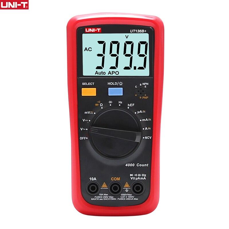 UNIDADE Multímetro Digital Auto Gama 1000V 10A UNI-T AC DC Voltímetro Capacitância Atual Medidor Elétrico Tester Temperatura Medida