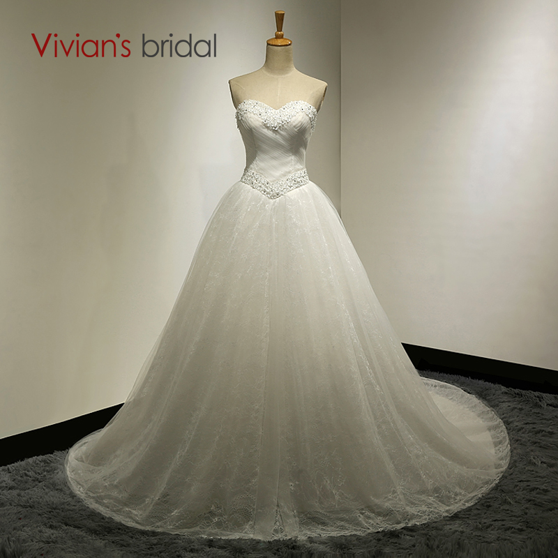 >Vivians Bridal Ball Gown Sweetheart <font><b>Sweep</b></font> <font><b>Train</b></font> <font><b>Sleeveless</b></font> Lace Up Wedding Dress With Appliques vestido de noiva SA010