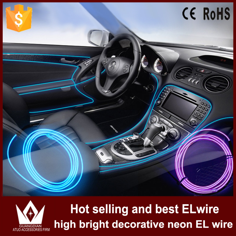 GuangDian 1M or 2M flat EL Wire Rope Cable Power Flexible Light Decor With Controller cigarette auto led strip For Toyota Camry 10 50 meters pack 1m per piece led aluminum profile slim 1m with milky diffuse or clear cover for led strips