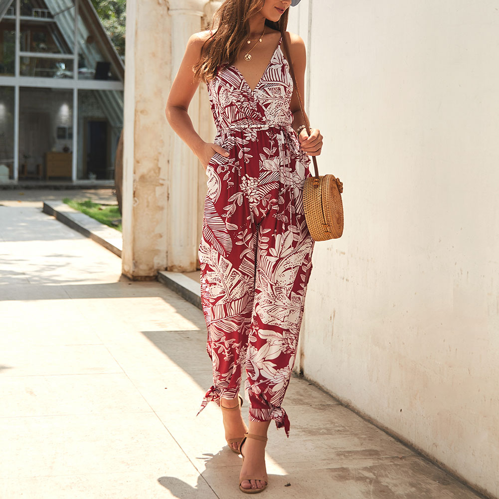 Boho Women Strappy Floral   Jumpsuit   Ladies Holiday V Neck Playsuit Summer Beach New