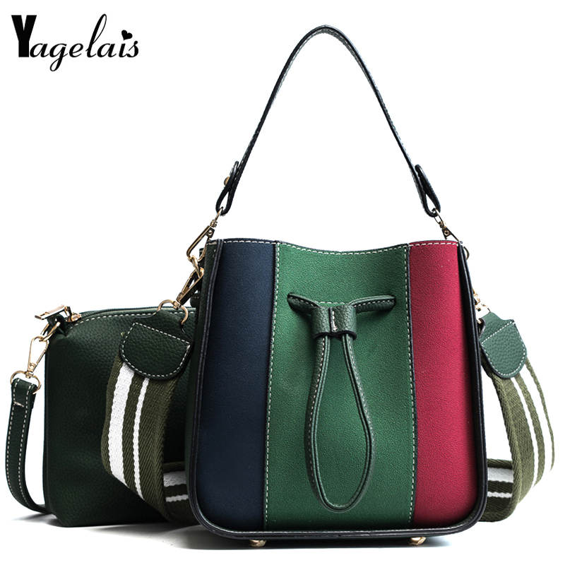 Women Patchwork Composite Bags String Shoulder Bags Wide Strap Simple Casual Handbag Soft Crossbody Fashion Tote Women bolsa