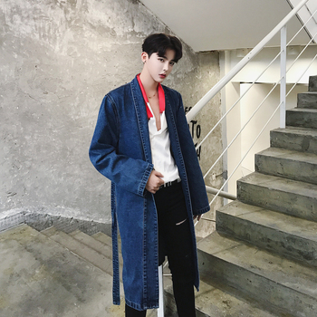 2018new casual loose cowboy trench coat male long sectionFashion jacket