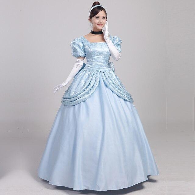 52b8f7e49 2016 novos trajes mulher Lindo Cinderela fantasia Cosplay vestido Cinderela  adulto trajes de Halloween (Vestido