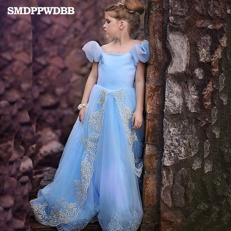 SMDPPWDBB New Girls Cinderella Dresses Children Blue Princess Dresses Rapunzel Kids Party Christmas Princess Dress Costume 2015 new style movies cinderella princess dresses for kids nice blue princess dresses cinderella fancy costumes child s clothes