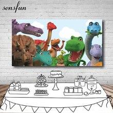 Sensfun 쥬라기 공룡 파티 사진 배경 200x100cm 사진 스튜디오 비닐에 대한 사용자 정의 생일 파티 배경