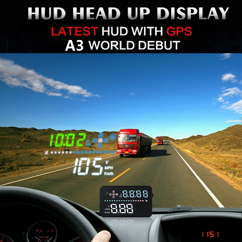 Image 2 - Universal A3 Auto GPS HUD Heads Up Display digital GPS Car Accessories  Electronics  Digital Speedometer A300 OBD2 HUD-in Head-up Display from Automobiles & Motorcycles