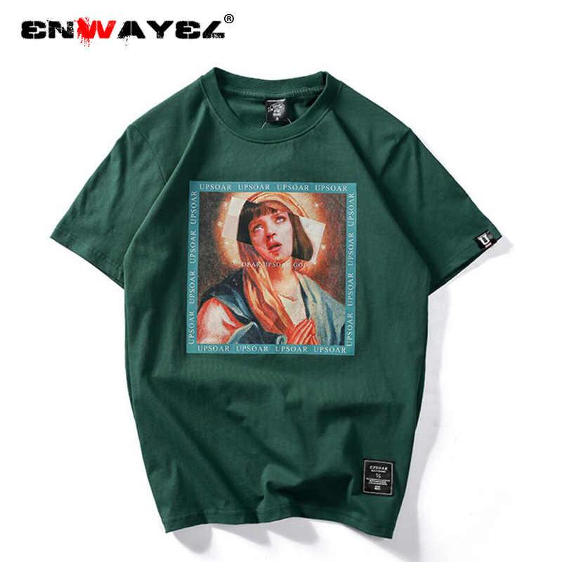 ENWAYEL 2019 хип хоп повседневные хлопковые топы Девы Марии мужские футболки для мужчин забавные с коротким рукавом уличные футболки лето
