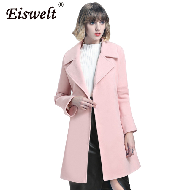 High Quality Winter Women Coat with Belt Turn-down Collar Autumn Jacket  Women Pink Trench 08d323ef16