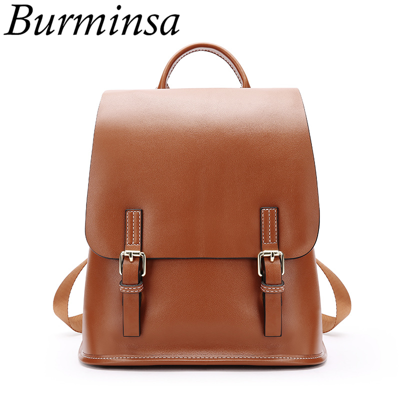 Burminsa Korean Style Genuine Leather Backpack For Women Small Teenager Girl School Bags High Quality Ladies