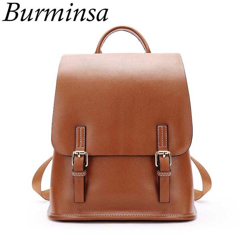 Burminsa Style coréen sac à dos en cuir véritable pour femmes petit adolescent fille sacs d'école de haute qualité dames voyage sac à dos 2019