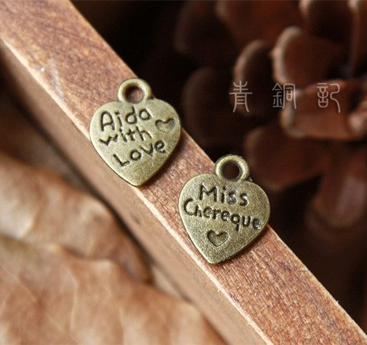 SALE 200 Antique Copper Heart /'Made With Love/' Pendant Charms 10 x 12mm
