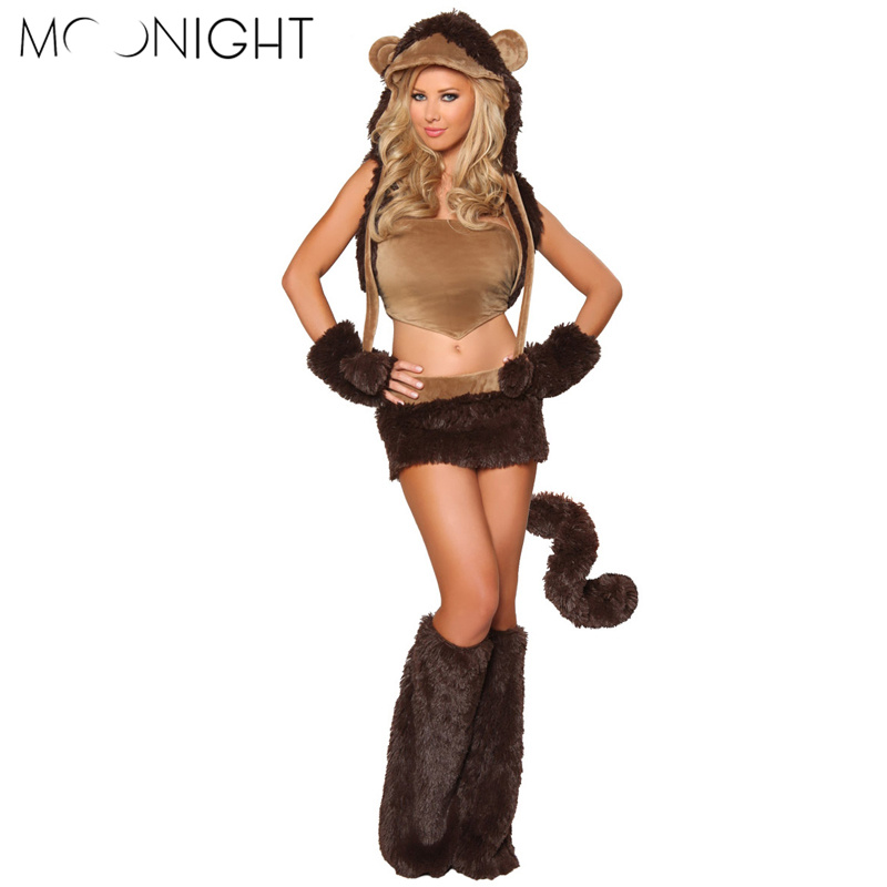 MOONIGHT Deluxe Brown Bear Costume Woman's Sexy Furry Costume Plush Bear Dress with Leg Warmers Adult Carnival Costumes