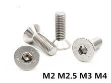 M2 M2.5 M3 M4 DIN7991 Parafuso Escareado Hexagonal Parafusos de Cabeça Chata Parafuso de Aço Inoxidável 304