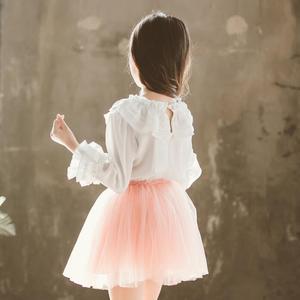 Image 4 - 2020 printemps automne mousseline de soie dentelle bébé enfant en bas âge filles Blouse blanc vêtements enfants à manches longues école fille chemise enfants hauts JW4497A