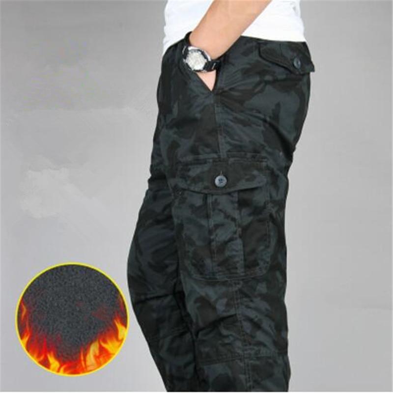 Winter Warm Fleece Pants Men Black Camo Cargo Pants Mens Baggy  Military Tactical Trousers Casual Cotton Multi Pockets Pants 6XL