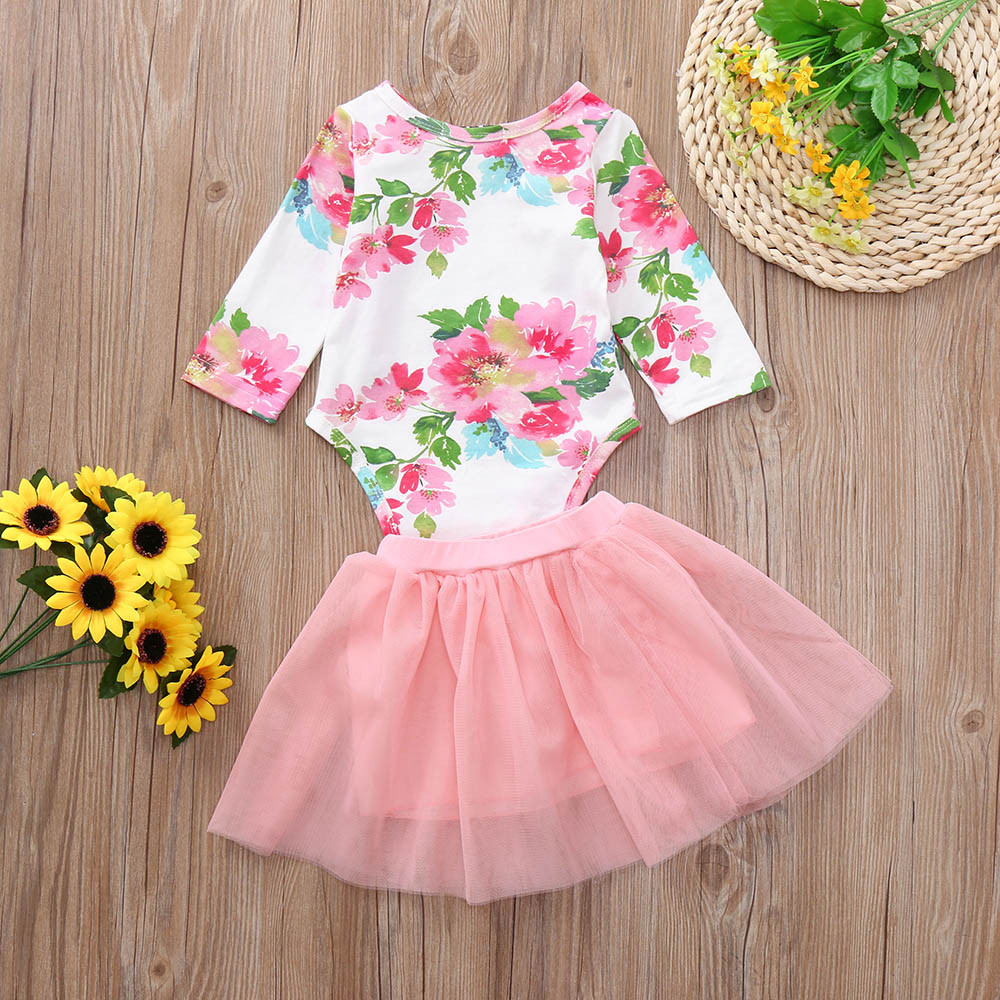 MUQGEW Baby Girl Clothes Set 2Pcs 0-24M Infant Girl Floral Print Romper Tulle Tutu Skirt Outfits Set Baby Autumn Costume /PY 1
