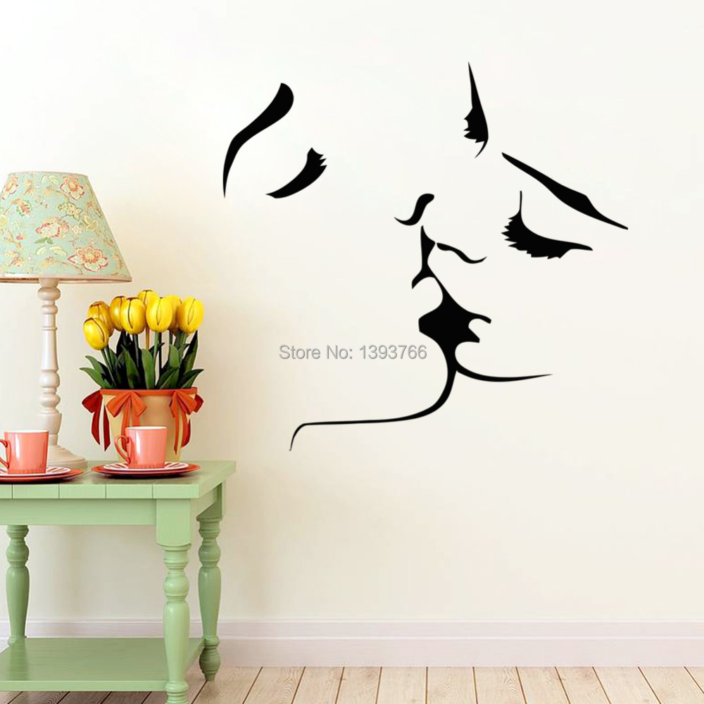 Couple bedroom wall decoration ideas - Aliexpress Com Buy Couple Kiss Wall Stickers Home Decor 8468 Wedding Decoration Wall Sticker For Bedroom Decals Mural From Reliable Stickers For Bedroom