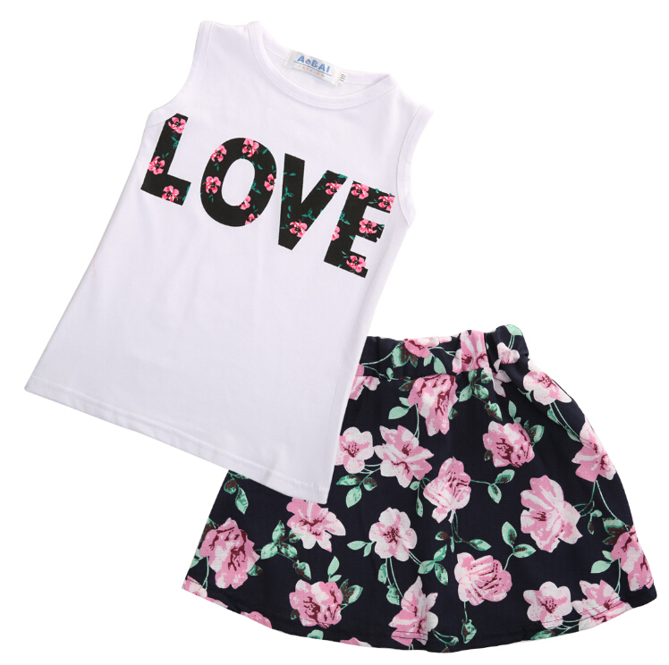 Children Toddler Kids Baby Girls Clothes Skirts Flower Outfits T Shirt Tops Vest + Floral Skirt ...