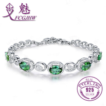 Love Gift 925 Sterling Silver Oval Green Bracelet for Women Bangles Fine Jewelry FCGJHW
