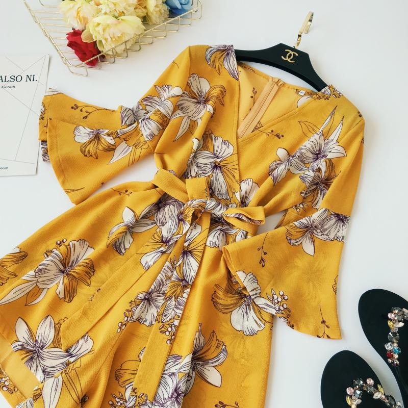 Yellow Red Floral Print Bow Wide Leg Lace Up Yellow Romper Jumpsuit 8