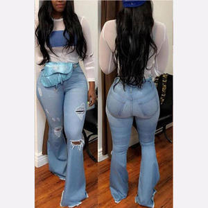 Flare Jeans Mom Denim Pants Wide-Leg Ripped Black Blue High-Waist Plus-Size Women Summer