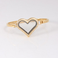 Corazón forma Locket pulsera brazalete con rhinestone Locket flotante magnético Brazaletes 5 unids