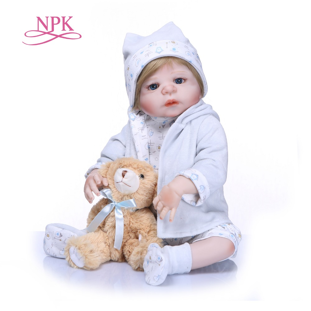 NPK 57CM full body Soft Silicone Babies Girls Lifelike Newborn Princess Toddler Babies Dolls Bathe Toy for Girls Birthday Gift