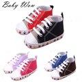 Девушки дети детские хлопок спортивная обувь след картины двойные цвета кроссовки впервые ходунки новорожденных детей джокер обувь tyh-40378