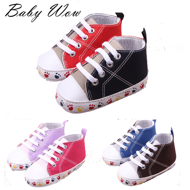 Girls Kids Baby Cotton Sport Shoes Footprint Pattern Double Colors Sneakers First Walkers Newborn Kids Joker Footwear  tyh-40378