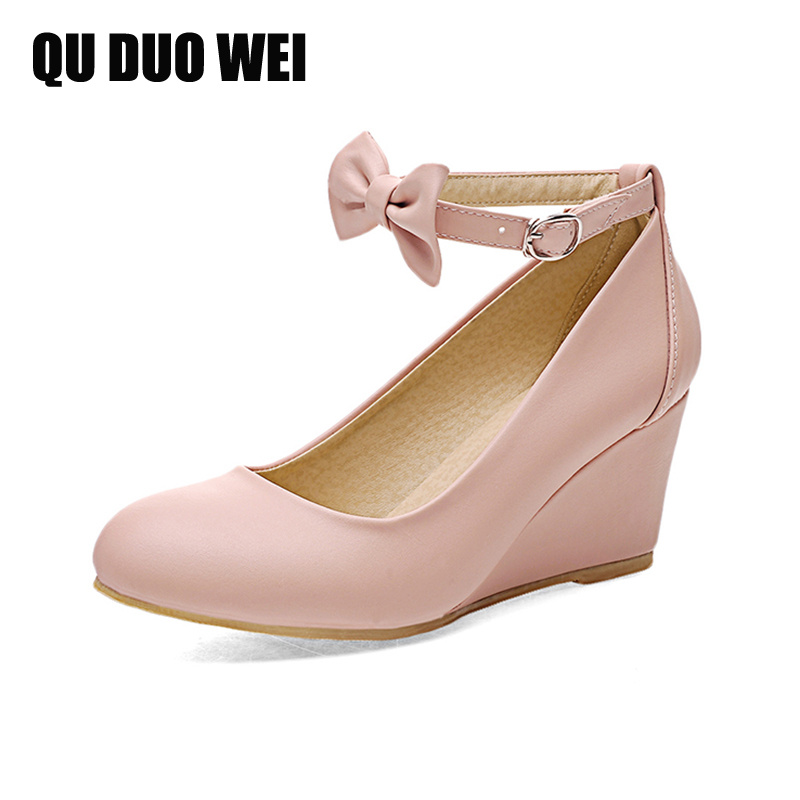 sweet bowtie pink pumps shoes for women ankle strap round toe platform wedges shoes casual girls party pumps plus size 34-43 meotina shoes women pumps fall round toe ankle strap party platform wedges female flowers sequined pink yellow beige shoes